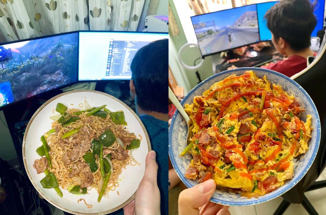 Sướng như game thủ, ở nhà chơi game lại được bạn gái nấu rất nhiều món ngon